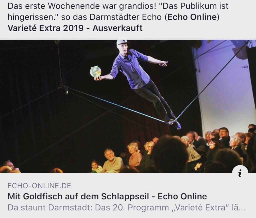 """""""Varieté Extra"""" lässt das Publikum in der Bessunger Knabenschule jubeln, zeitungs artikel"""