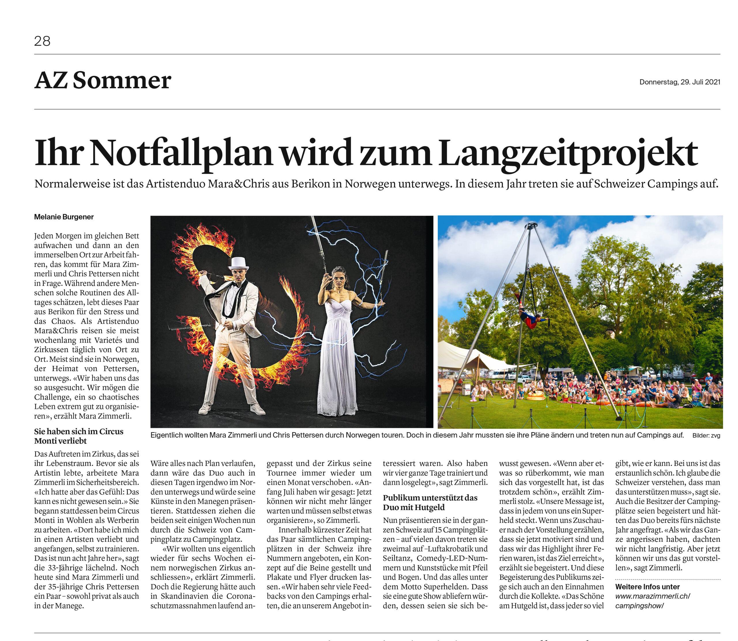 AZ Sommer Schweizer Campings, zeitungs artikel
