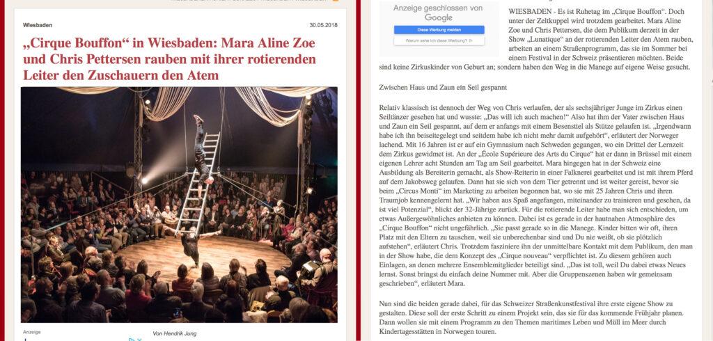 """""""Cirque Bouffon"""" in Wiesbaden: Mara Zimmerli und Chris Pettersen rauben mit ihrer rotierenden Leiter den Zuschauern den Atem, zeitungs artikel"""